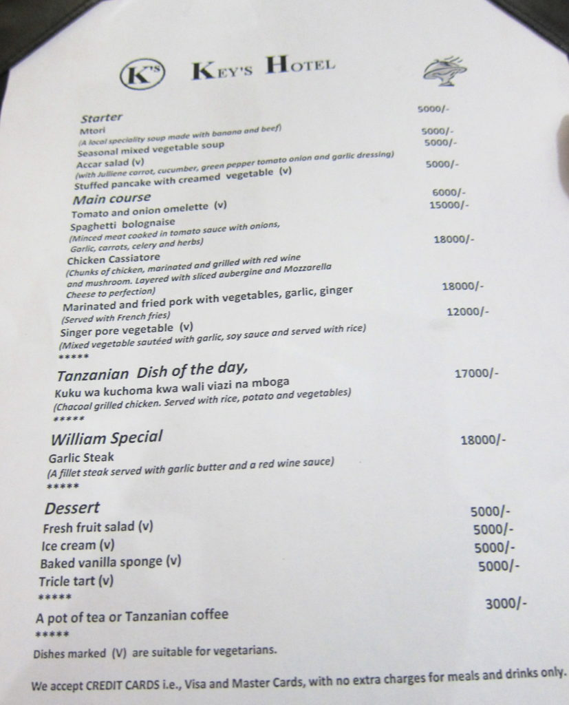 Fun Things To Do in Moshi, Tanzania - Key's Hotel Menu