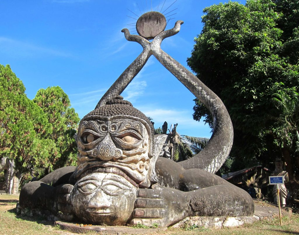 Strange Sculptures at Buddha Park in Vientiane, Laos - Frog Eats Moon