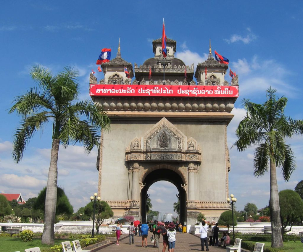 How to Travel to Cambodia and Laos in 2 Weeks - Vientiane, Laos Patuxay Monument