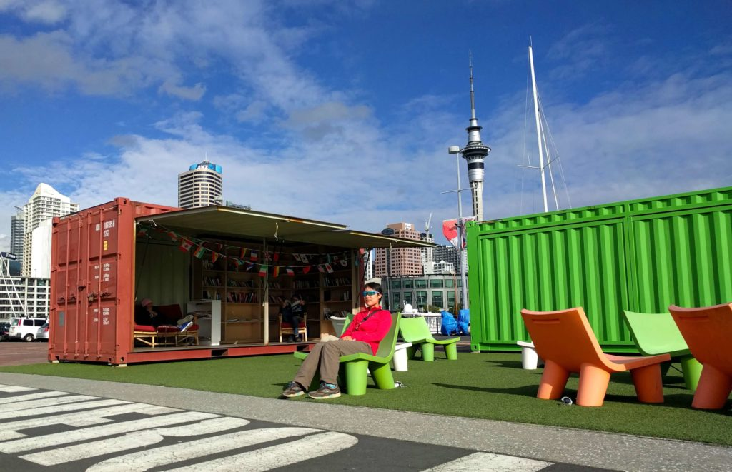 Spending One Beautiful Day in Auckland, New Zealand - Relaxing at the open library in Wynard Quarter