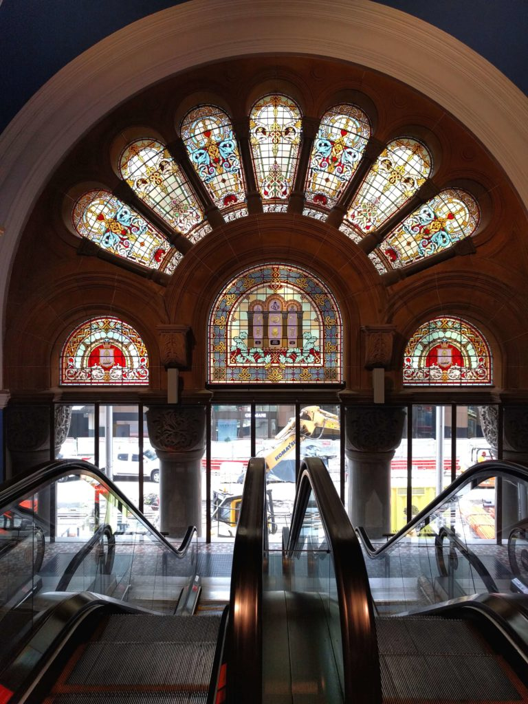 Queen Victoria Building has many beautiful stained glass windows around the building.