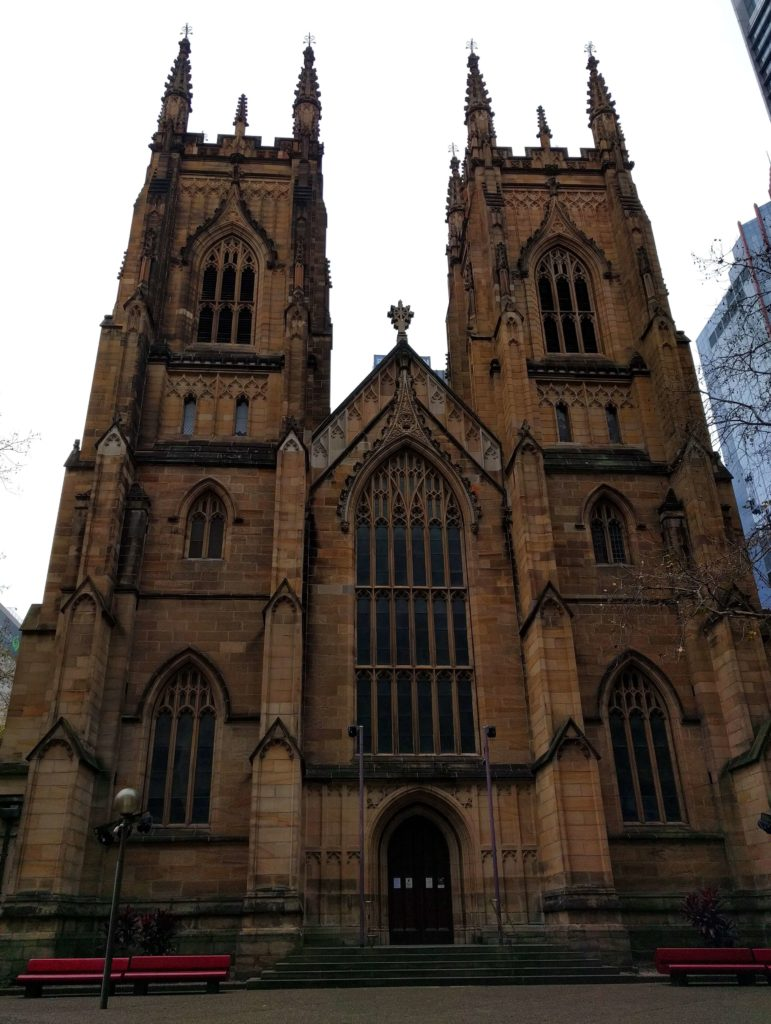 View of the St. Andrews Cathedral in Sydney, Australia