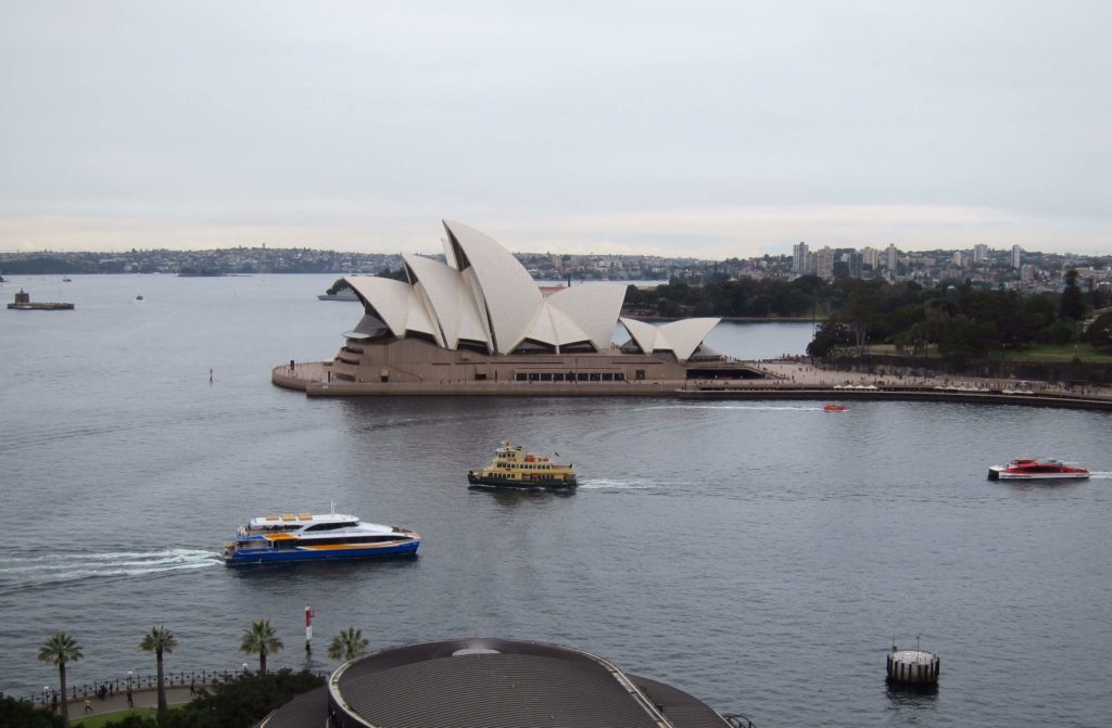 View of the Sydney Opera House from the Sydney Harbour Bridge