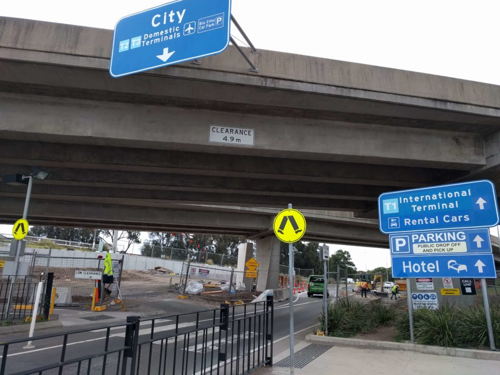 Follow the signs of the walkway to Sydney Airport