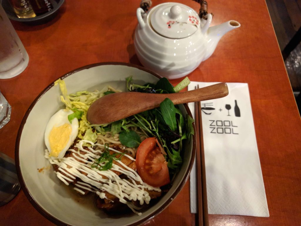 Spending One Beautiful Day in Auckland, New Zealand - Zool Zool Ramen with teriyaki chicken and salad