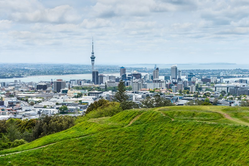 Hiking Coast to Coast Trail in Auckland, New Zealand. Photo is of Mount Eden.