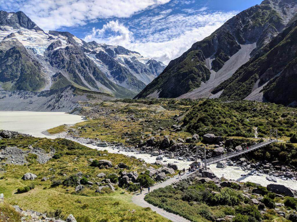 Hiking Hooker Valley Track in Aoraki/Mount Cook National Park, New Zealand