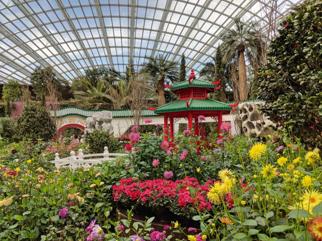 The Gardens By The Bay's Flower Dome has beautiful flowers and an red pagoda