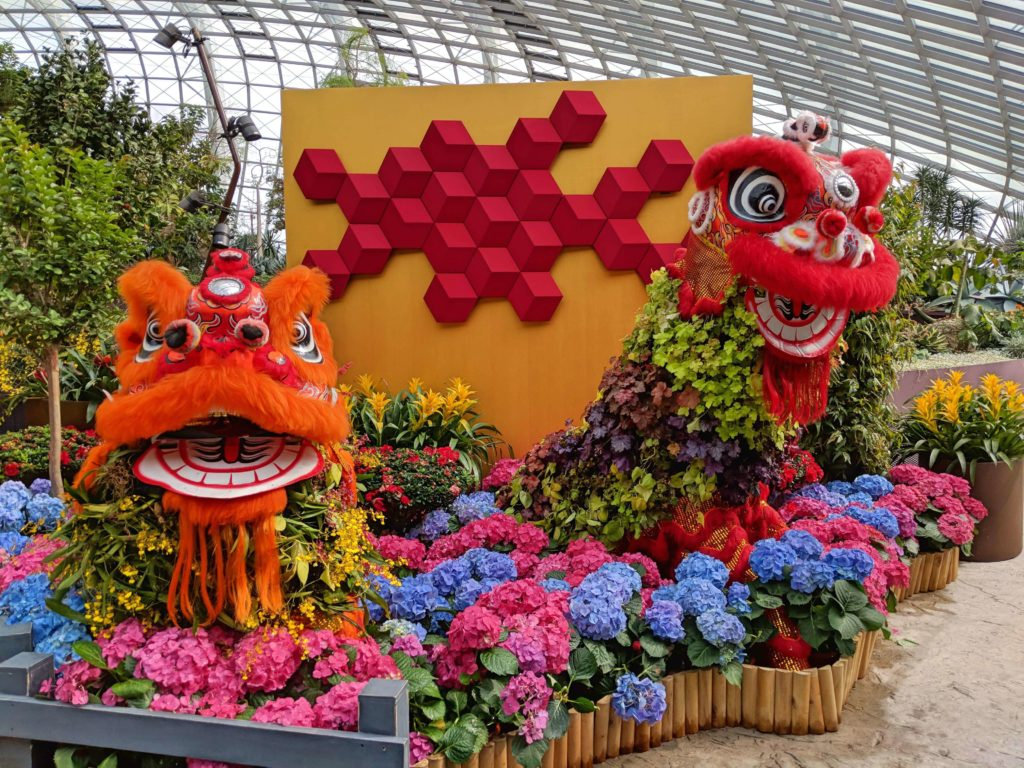 We arrived during Chinese New Year so there were Chinese New Year floral decorations at the Gardens By The Bay's Flower Dome