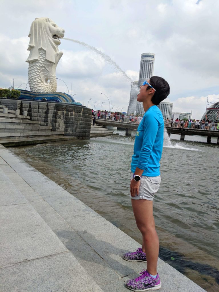 Singapore has many merlion statues around the city. One of the popular poses is trying to capture the water from the merlion's mouth to your mouth.