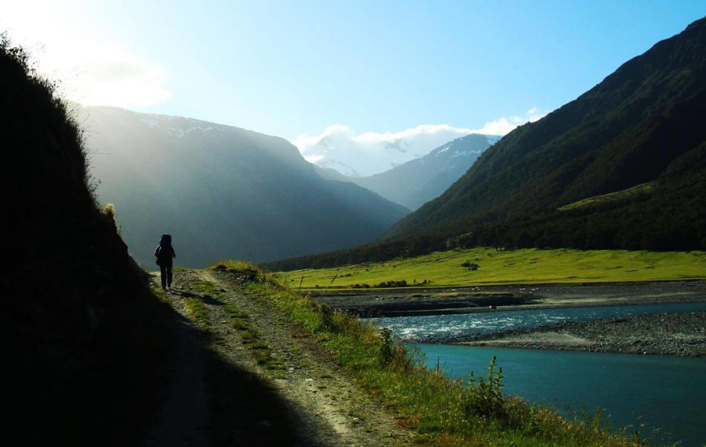 Hiking West Matukituki Track in Mount Aspiring National Park, New Zealand