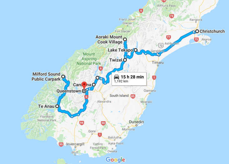 Map New Zealand South Island.One Week Itinerary Road Trip In New Zealand S South Island