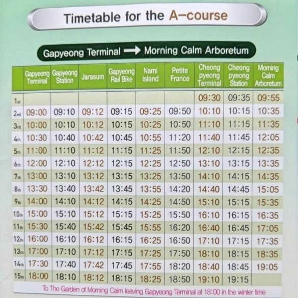 Gapyeong Shuttle Bus Schedule from Gapyeong Station to Garden of Morning Calm