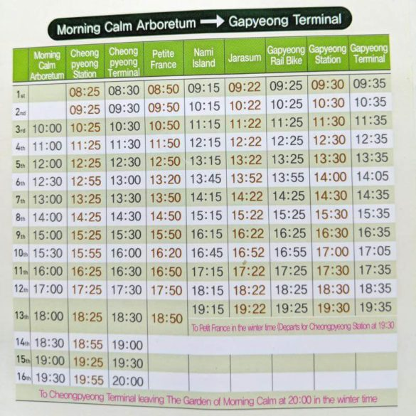 Gapyeong Shuttle Bus Schedule from Garden of Morning Calm to Gapyeong Station