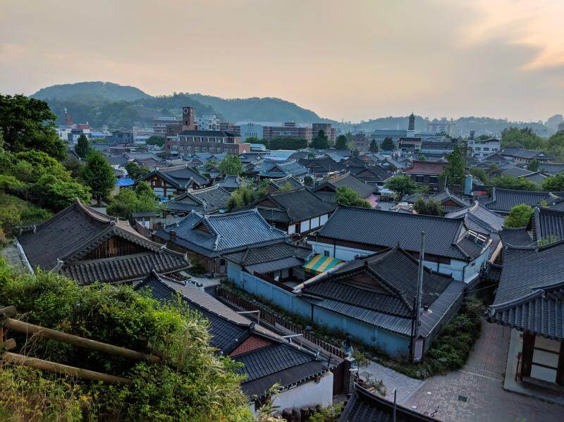 View of the Jeonju Hanok Village from Omokdae in Jeonju, South Korea