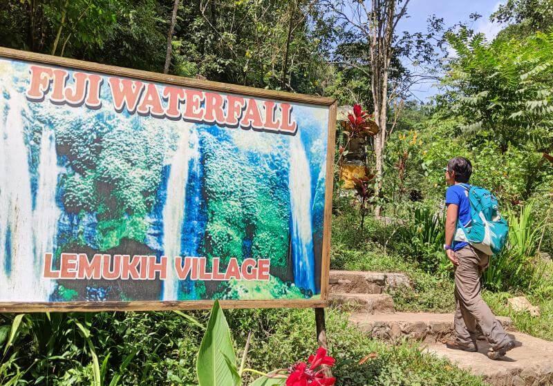 Fiji Waterfall sign (next to Sekumpul Waterfall) in Bali