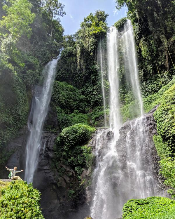 Sekumpul Waterfall in Bali: View from the bottom of the mountain