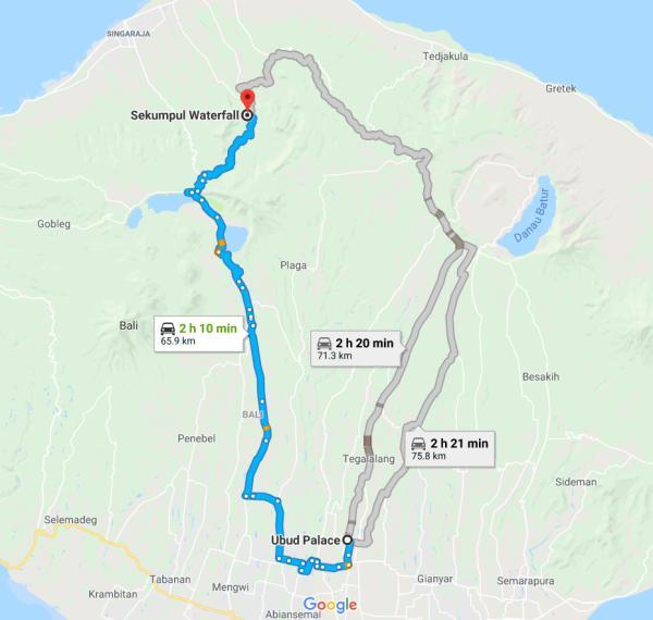 Map from Ubud Palace to Sekumpul Waterfall in Bali