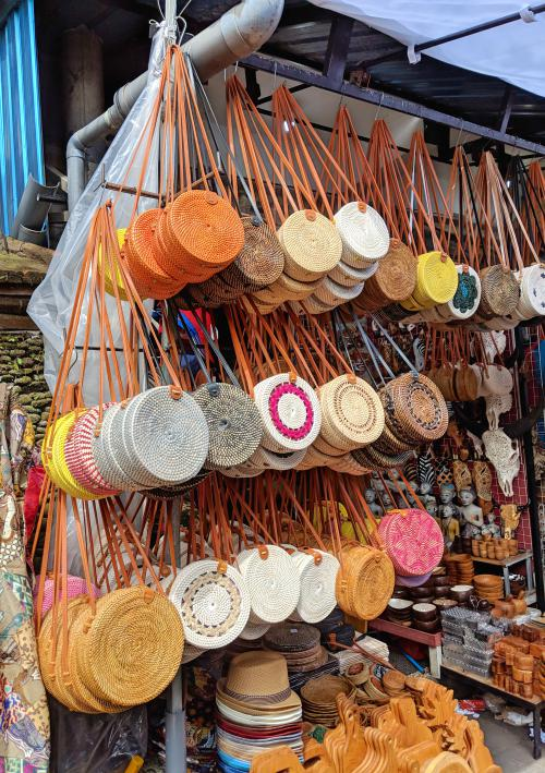 Rattan bags at Ubud Art Market in Bali, Indonesia