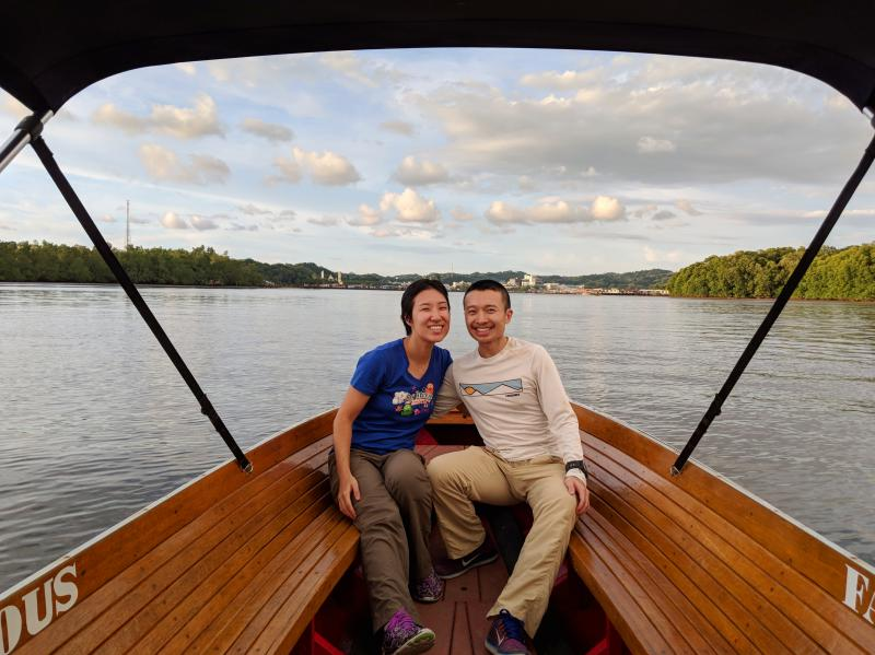 Jackie Szeto and Justin Huynh, Life Of Doing, is on a Brunei layover and on a Mangrove Tour Boat Ride