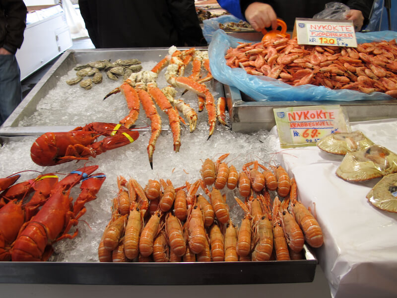 UNESCO Creative Cities of Gastronomy: Bergen, Norway has fresh seafood such as lobster, shrimp, and crabs at the market