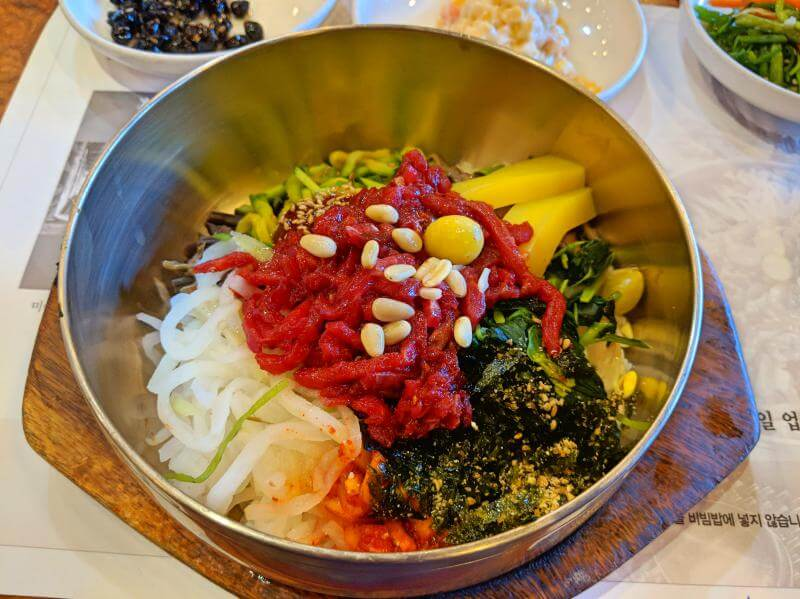 UNESCO Creative Cities of Gastronomy: Jeonju, South Korea has colorful bibimbap with rice, vegetables, and beef