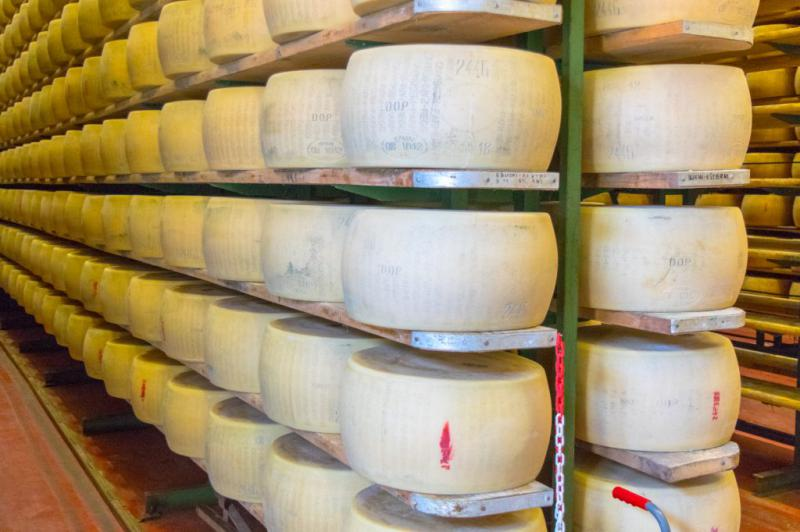 UNESCO Creative Cities of Gastronomy: Parma, Italy has rounds of parmigiano-reggiano cheese (parmesan)