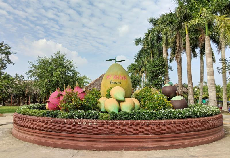 Can Tho, Vietnam: My Khanh Tourist Village has a huge fruit sculpture as you enter the garden area
