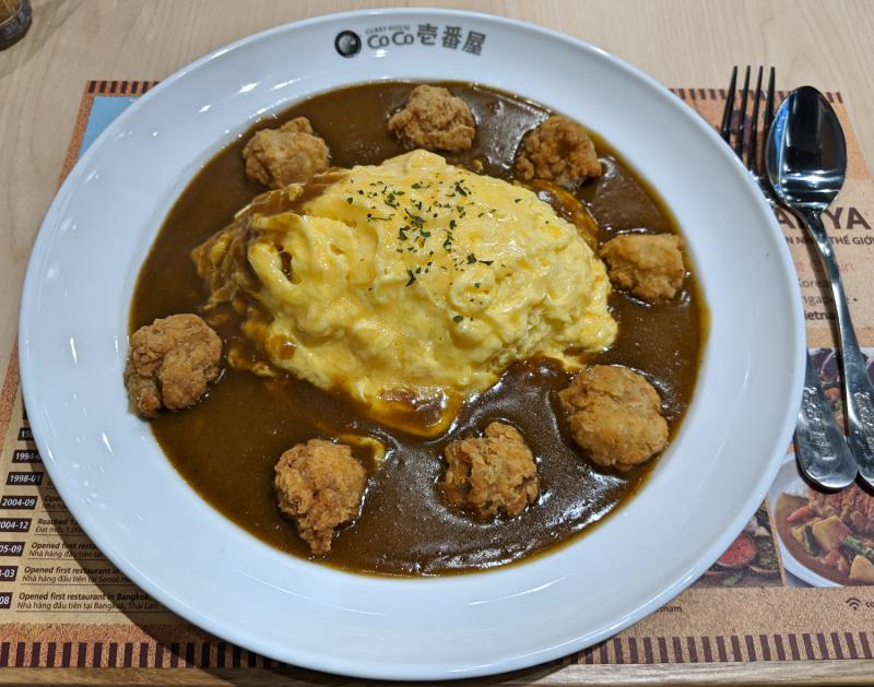 Curry with omelet and fried chicken at Coco Ichibanya, Ho Chi Minh City, Vietnam