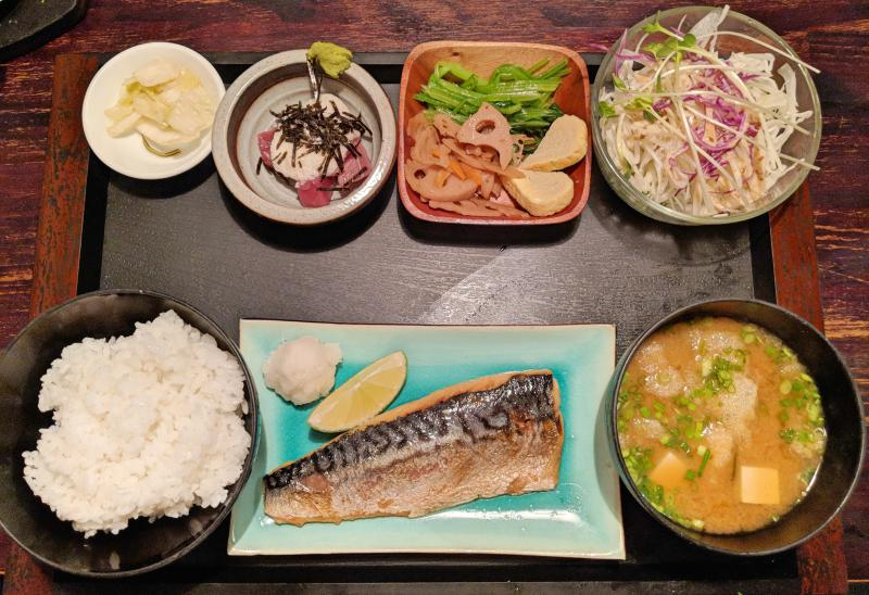 Hareya's meal set with saba (mackeral), salad, miso soup, and rice at in Ho Chi Minh City: