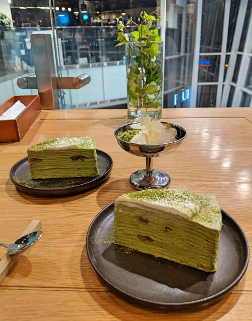 Matcha millicrepe at Miyama Cafe, one of Ho Chi Minh City's best Japanese restaurants