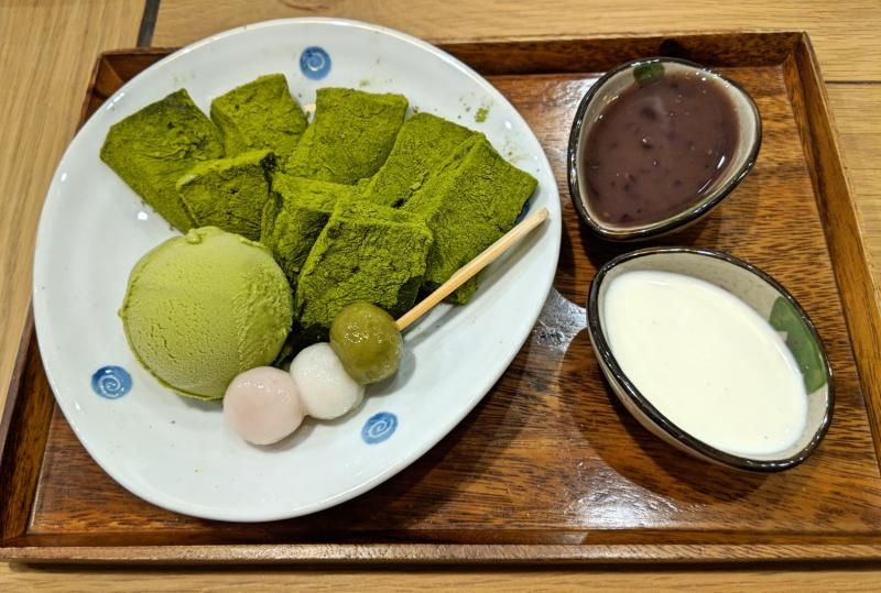 Matcha mochi with matcha ice cream dessert at Morico, one of the best Japanese restaurant in Ho Chi Minh City