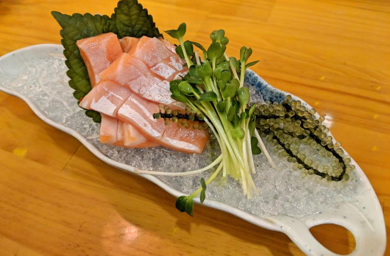 Fresh salmon belly sashimi at Sushi Nhi, one of the best Japanese restaurants in Ho Chi Minh City