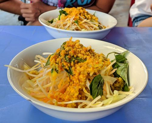Bun kem is a delicious bowl of noodles with mashed fish and papaya salad at Bun Kem Ut Luon on Phu Quoc, Vietnam