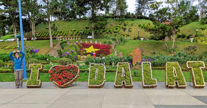 "Dalat Flower Garden has many beautiful flowers. One of the highlights include this ""I Heart Dalat"" sculpture which is fun to take photos with."