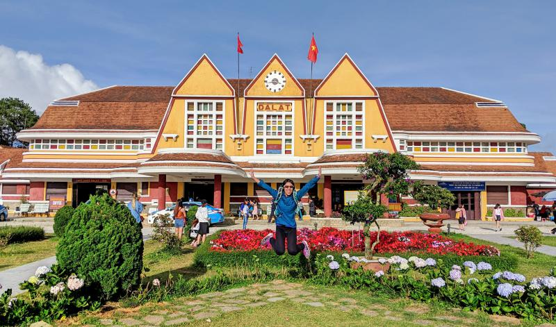 Dalat Railway Station is a famous spot to visit with the French architecture and the gold colored decor.