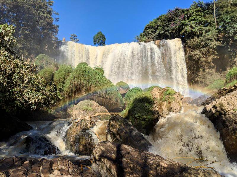 Elephant Waterfall is a beauty in Dalat, Vietnam, especially with the rainbows