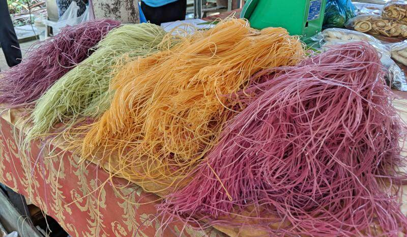 Colorful hu tieu rice noodles from a small factory in Can Tho, Vietnam