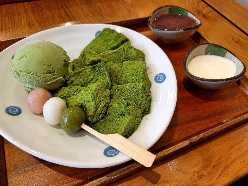 Matcha warabi mochi with three shiratama balls and matcha ice cream at Morico Cafe