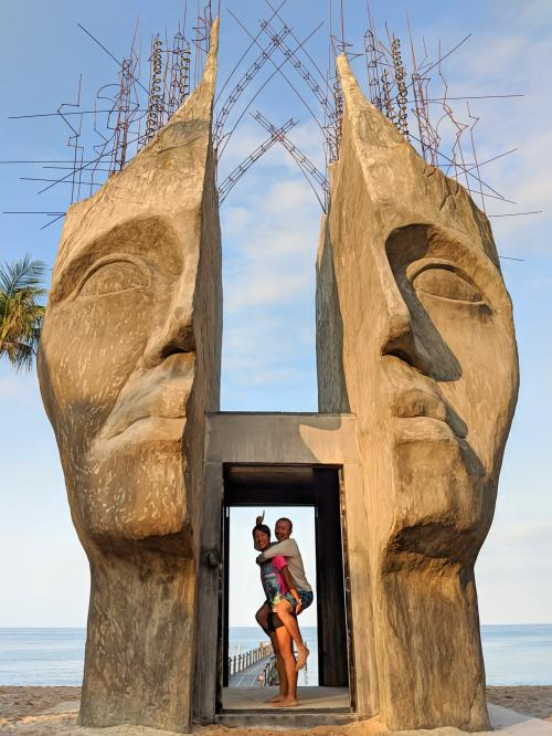 Bai Truong Beach on Phu Quoc Island has amazing Burning Man type of statues. Check out this head with wires coming out.