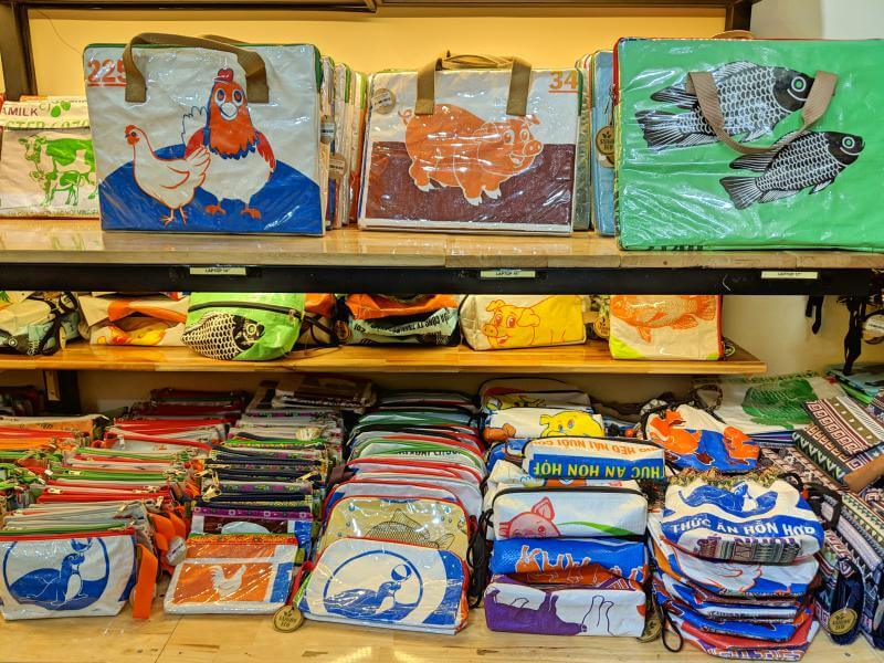 Reusable bags made out of repurposed rice bags are the perfect souvenirs from Vietnam