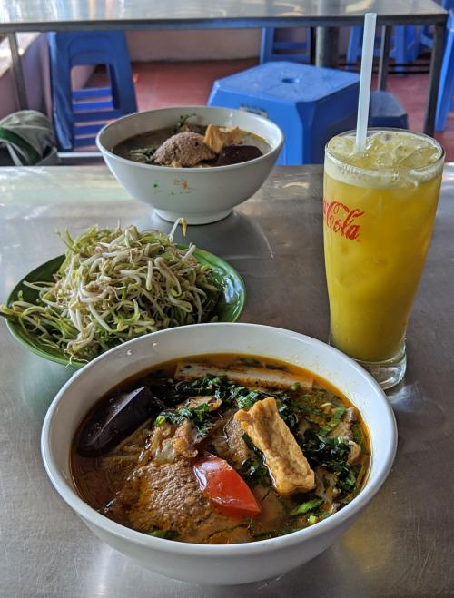 Try bun rieu while you're in Con Dao, Vietnam. We recommend Bún Riêu Cua Bà Hai Khiêm on Con Son Island as a good place to eat noodles and have delicious fish cakes.