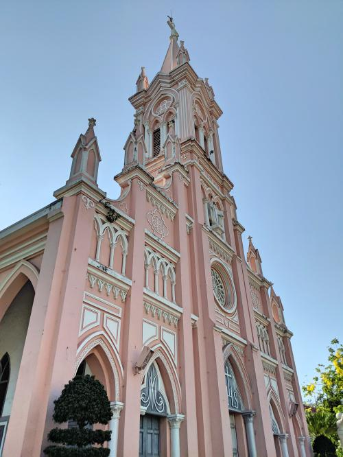 The Danang Cathedral is a pastel pink church that caters to the Catholic people. It's a popular place to visit when visiting Danang, Vietnam.