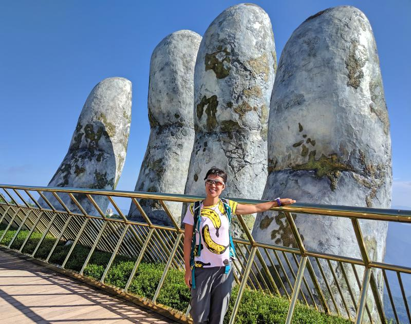 Sun World Ba Na Hills is a popular destination in Danang. The famous attraction is the Golden Bridge where two hands hold up the bridge.