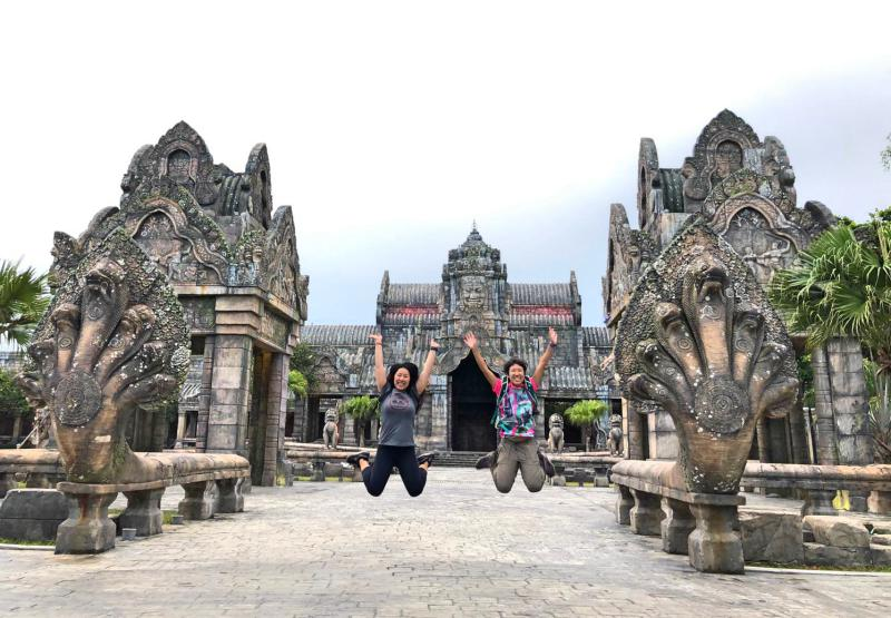 Sun World Danang Wonders has a miniature size Angkor Wat in the Cambodia zone. The replica looks like the real one in Siem Reap, Cambodia. In this photo, we're jumping with joy here.