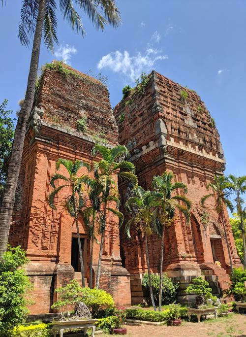 The Twin Towers in Quy Nhon, Vietnam is easy to get to as it's within the city area. Check out the two restored Cham towers which are made out of red bricks and stone carvings.