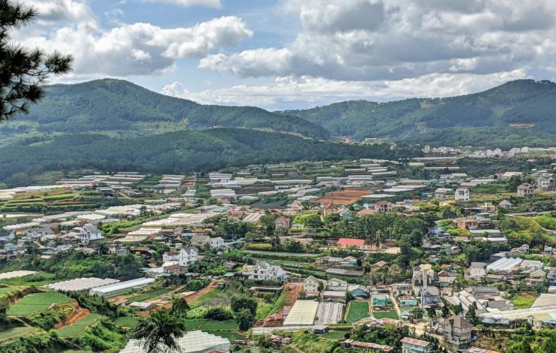 Here is a city overview of Dalat with farmlands and the hills. Dalat is a must-visit during your South Vietnam itinerary.