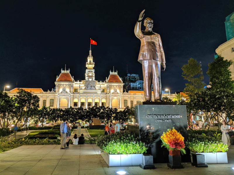 In Ho Chi Minh City, there is a Ho Chi Minh statue along the Nguyen Hue Walking Street. It's a great place to take a photo in the evenings.