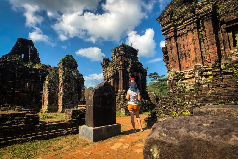 Walk through the My Son Sanctuary, one of the UNESCO sites in Vietnam, to see the Cham towers, which are made out of bricks and stone carvings.