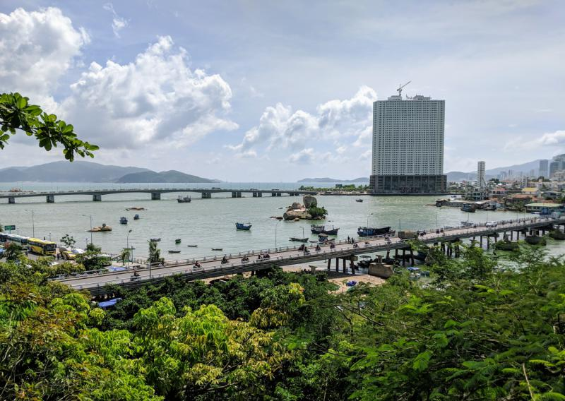 View of Nha Trang that overlooks the city and the coastline.